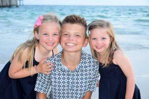 happy kids in beach photo