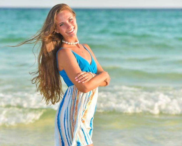 beautiful beach school photo of girl