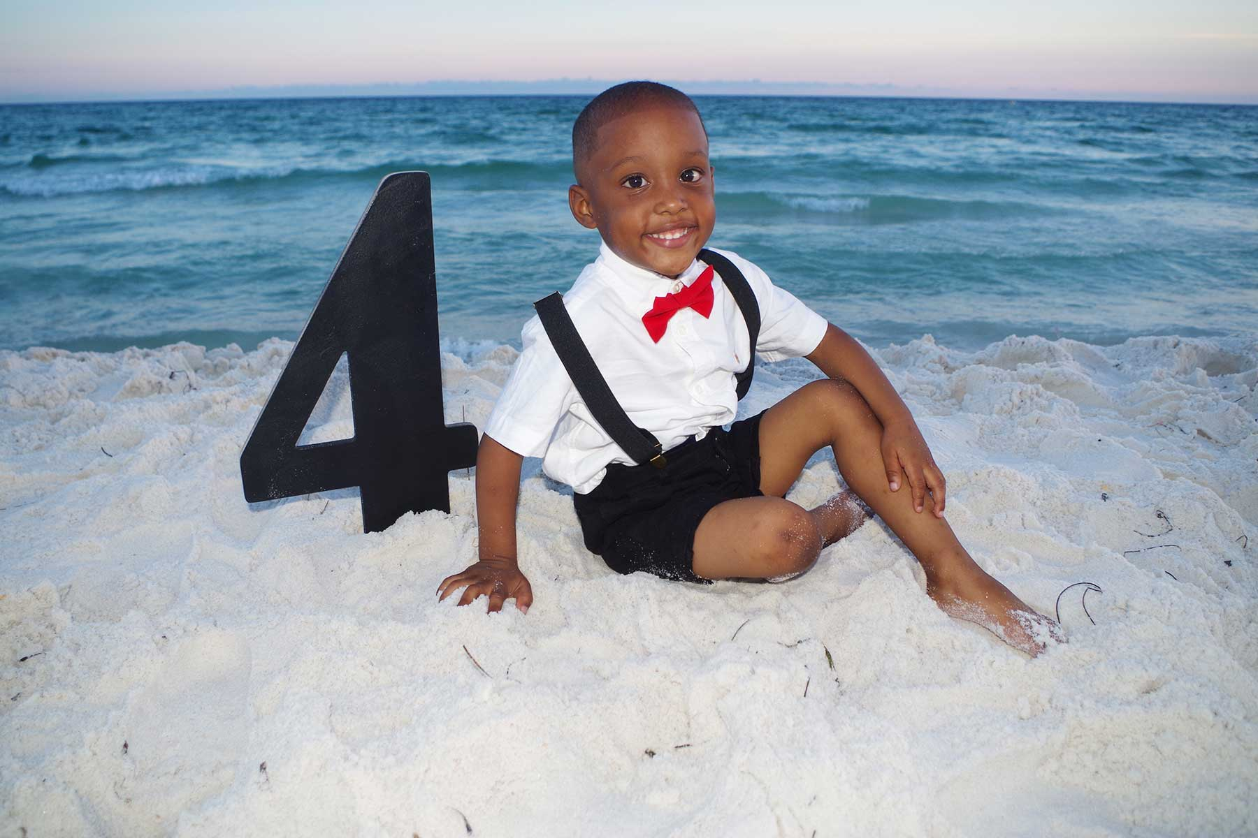 little boy birthday photo at the beach in PCB