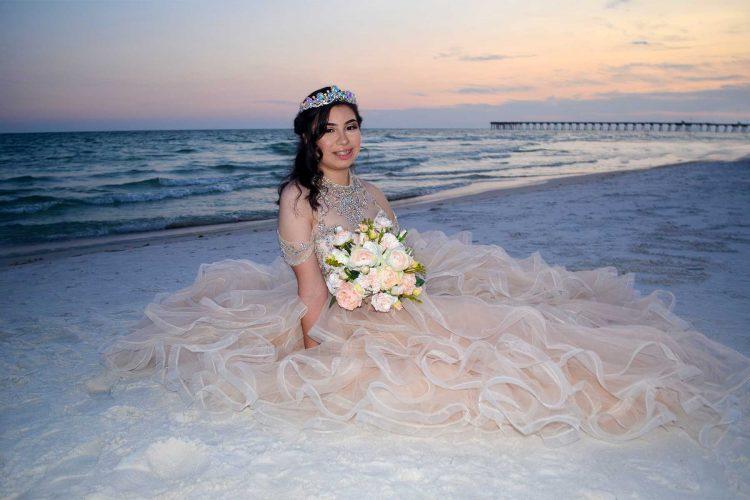 bride on the beach - bridal photos Panama City Beach, FL