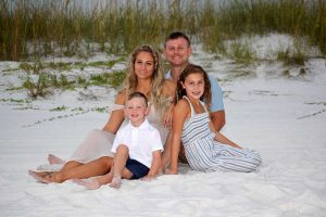 family photo at sunset