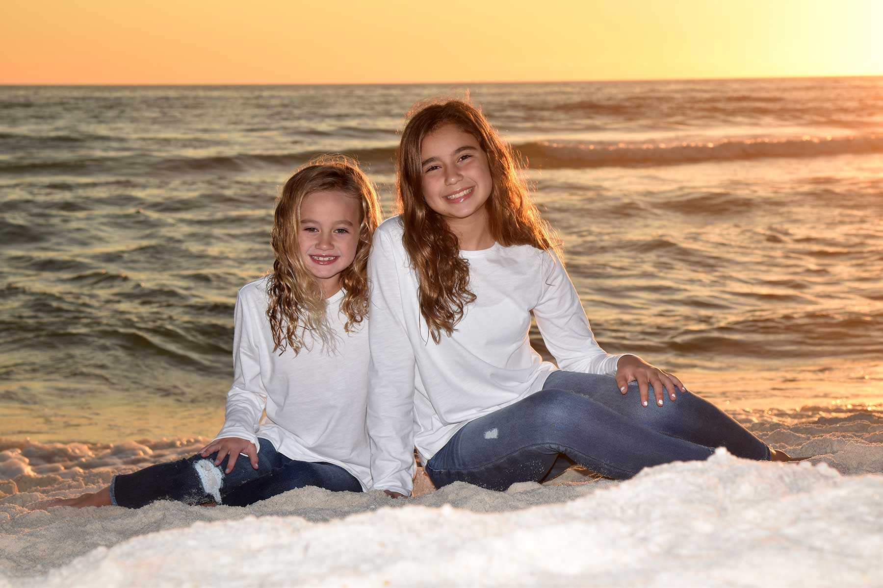 2 kids in a sunset beach photo