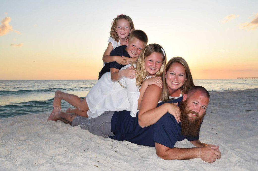 family of 5 sunset photo