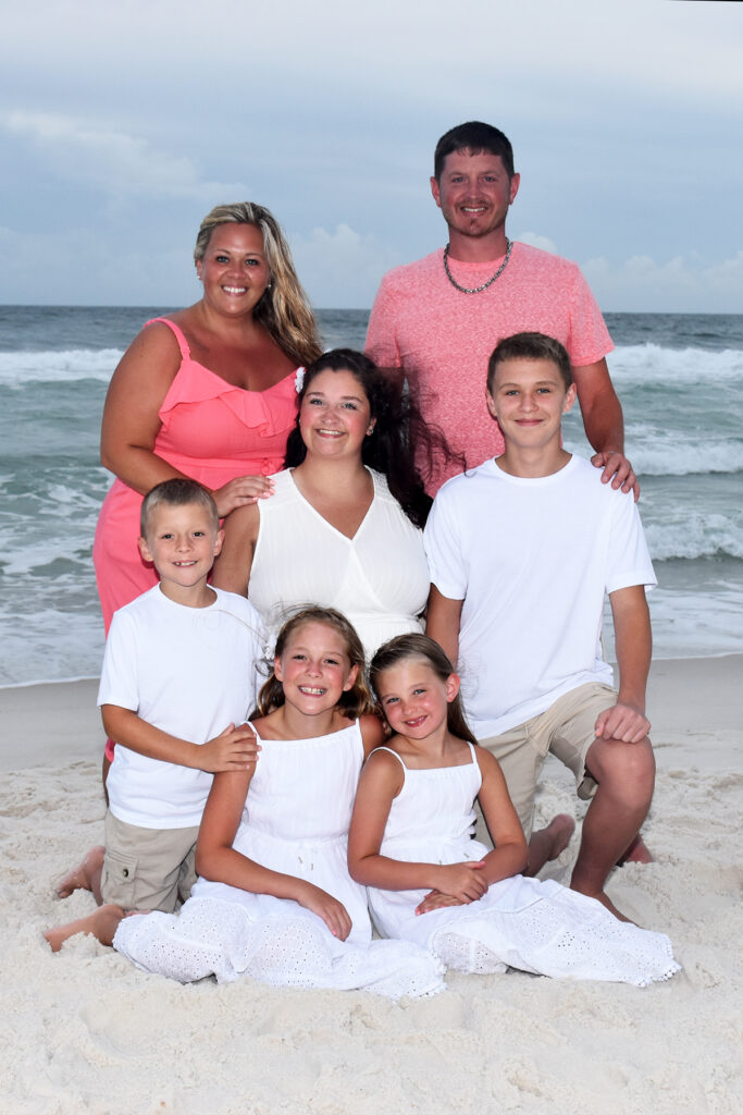 Family smiling for camera