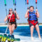 happy family parasailing