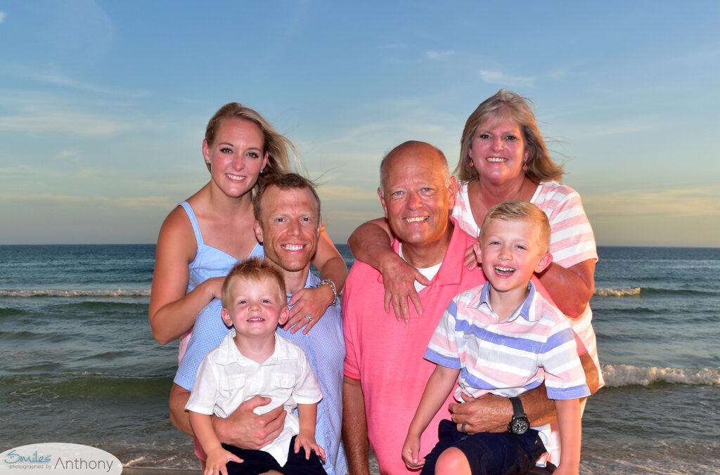 Family in blues, pinks and white