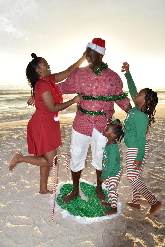 Beach Christmas card photo