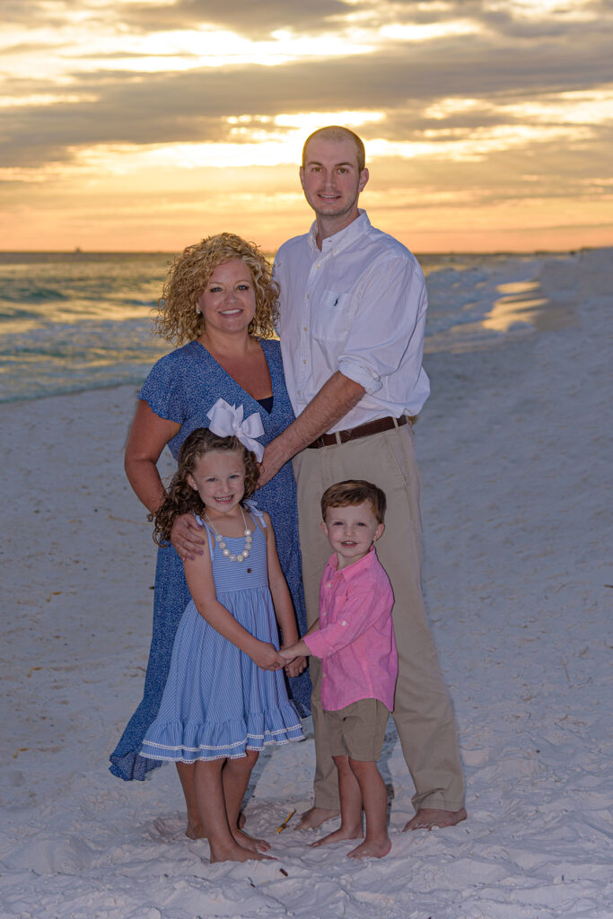 Family on a lovely stretch of beach.